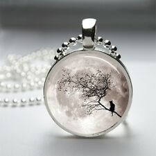 "**MOON CAT** ~Glass Domed 1"" Round Pendant With Ball Chain ~~USA Seller"