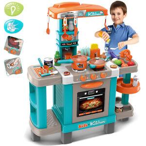 Cucina Giocattolo Bambini con Luci e Suoni 34 Accessori Gioco 87x78x29cm Azzurro