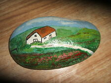 HAND PAINTED STONE OF A PATHWAY AND FARMHOUSE