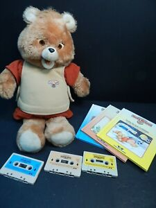 Vintage 1984/1985 Teddy Ruxpin Bear Clean w/ 3 Books & Tapes