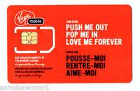 VIRGIN MOBILE CANADA, MINI / STANDARD SIZE UN-ACTIVATED SWAP REPLACEMT SIM CARD