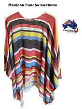 Mexican Poncho Wild West Cowboy Bandit Spanish Fancy Dress Party Costume