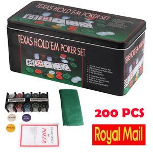 Poker Texas Hold'em Set Gaming Mat Chips 2 Decks Playing Card Tin Box 200 PCS UK