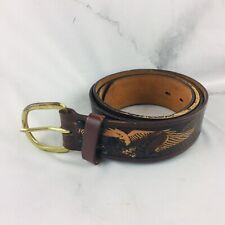 Vintage Wrangler Mens Tooled Eagle Brown Leather Cowboy Belt Size 40