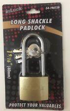 Solid Brass Long Shackle Padlock.1-9/16''_40mm- 3Keys Included-USA SELLER
