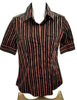 New York & Company Womens Top Stretch Button Front Short Sleeve Red Black Size S