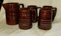 Vintage Marcrest Pitcher & 4 Mugs Tumblers Dot & Daisy