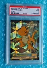 """2000 Digimon Series 2 Tyrannomon Card #5 Gold Stamp """"Numbered Card"""" Graded PSA-7"""