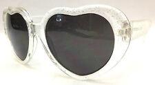 Sunglasses Children Teen Kids - Love Heart Clear Glitter UVF400 Ages 4-10
