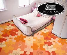 KINDERTEPPICH Teppich PUZZLE, Patchwork, Spielteppich, Tiere, Orange alle Größen
