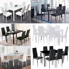 Tempered High Gloss Glass Dining Table Set 4/6 Faux Leather White Chairs Kitchen