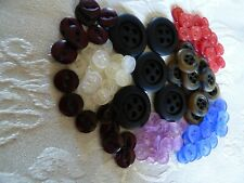 Job Lot 100+ Black Brown Blue Cream Clear Pink Red Fisheye Lilac Buttons 7 Sets