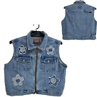 Revolt Clotthing Co. vintage women's jean vest zip up size 20 (K-3)