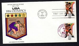1984 #2084 20c Los Angeles Olympics Wrestling Collins Hand Painted FDC