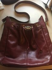 ETIENNE AIGNER Vintage Handmade Burgundy Leather Drawstring Hobo Shoulder Bag