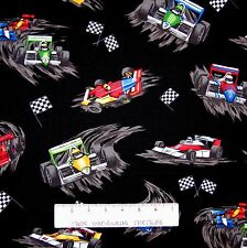 Vehicle Fabric - Pedal to the Metal Race Car Toss Black - Robert Kaufman YARD