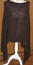 MAX EDITION Designer Poncho Sweater Wrap Brown Fringe Knit One Size OS