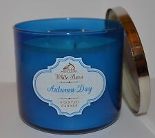 BATH & BODY WORKS AUTUMN DAY SCENTED CANDLE 3 WICK 14.5 OZ LARGE BLUE WHITE BARN