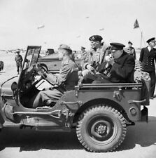 WW2 WWII Photo World War Two Montgomery and Churchill in US Army Jeep  / 3146