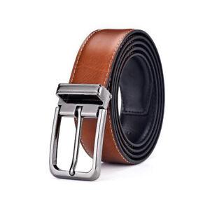 Men's Genuine Leather Casual Dress Belt Pin Buckle Waist Strap Belts Waistband