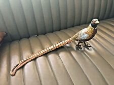"Large Male Pheasant Cold Painted Metal Bird 15"" Statue Sculpture Vienna Bronze"