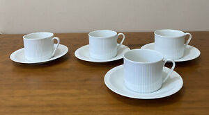 4 Vintage Arzberg Teacups And Saucers Sets Athena White Made In Germany