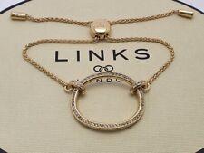 Genuine Links of London OVALS Bracelet 18ct Yellow Gold Vermeil white topaz