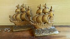 """Set Of Vintage Brass Ship Bookends """"Z"""" Clipper Sailing Ships - Nice Looking!"""