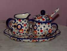 Polish Pottery Cream And Sugar 4 PC Set! Happy Happy Pattern!
