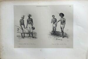 """""""NOUVELLE-GUINÉE"""", """"COSTUME DES CHEFS PAPOUS HAVRE DOREY"""", Tastu Editeur,1833."""