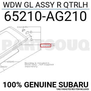 65210AG210 Genuine Subaru WDW GL ASSY R QTRLH 65210-AG210