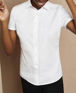 New Ladies Workwear Office Formal Dress Short SleeveCorporate Top Collar Shirt