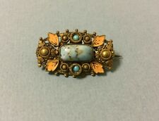 ANTIQUE BROOCH TURQUOISE GLASS STONE CZECH Pin Art Deco vintage small blue
