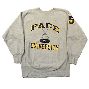 Vtg 80s 90s Champion Reverse Weave Crewneck Pace University Size XL USA Made