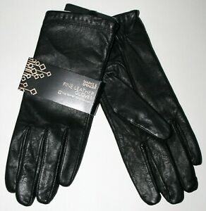 Women's M&S Fine Leather Gloves Black Water Resistant Size: S/M RRP: £39.50 NEW