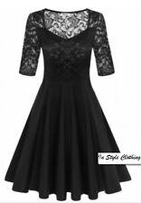 """DELLE"" GORGEOUS LADIES SIZE 12-14 BLACK STRETCH LACE FLARED COCKTAIL DRESS"