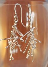 Stunning unusual Handmade sterling silver dangly earrings ,