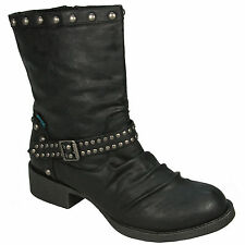 WOMENS BLOWFISH KATWALK STUDDED FAUX LEATHER BOOTS - UK SIZE 3 - BLACK RELAX.