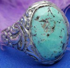 Vintage Turquoise 4 petal flower 0.925 Sterling Silver Men's band Ring size 10.5