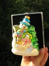 Hand Crafted Glass Snowman Christmas Ornament In Plastic Hard Case Unique