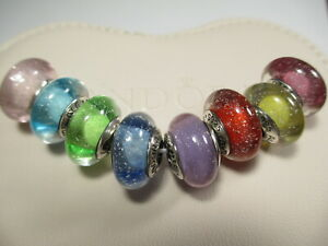 8 Pandora Silver 925 Ale Disney Multi-colored Princess Shimmering Beads Charms