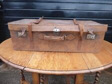 Vintage Brown Suitcase / Trunk - Sky Blue Interior With Document Holder