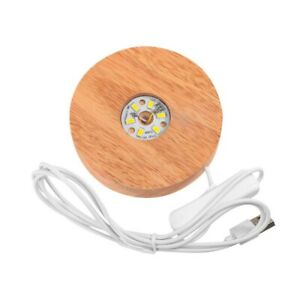 Wooden LED Display Stand 3D Night Light Round Base Holder for Crystals Glass Bal