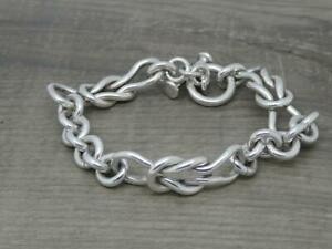 """Heavy Unisex Mexican 925 Solid Sterling Silver,11mm Knot Link 8"""" Long Bracelet"""