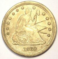 1869-S Seated Liberty Quarter 25C - AU Details (Scratched) - Rare Date!