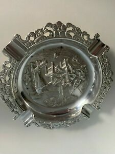 Very ornate silver plated ashtray