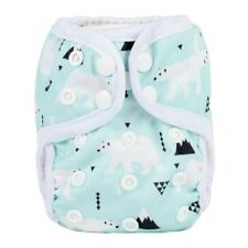2018 NEWBORN Cloth Diaper Cover Baby Nappy Reusable 2 Gussets 8-10lbs Polar Bear