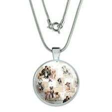 """Cool Dudes Dogs in Outfits 1"""" Pendant with Sterling Silver Plated Chain"""