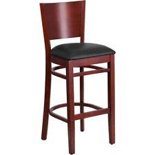 Flash Wood Restaurant Bar Stool, Black, Mahogany - XU-DG-W0094BAR-MAH-BLKV-GG