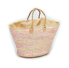 Straw & Sequin Pink Shopping French Market Basket Bag Moroccan Tote XXL